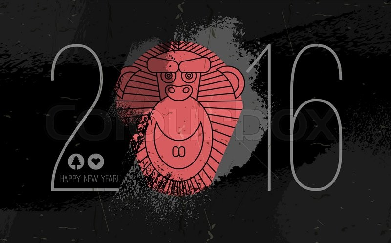 monkey chinese new year background monkey face in 2016 typing chinese zodiac monkey red monkey face on black grunge backgroundvector flyer