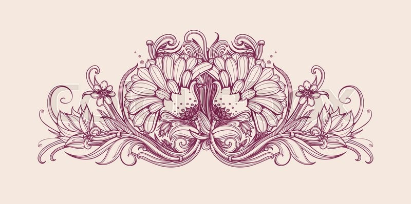 Hand Drawn Flower Bouquet Floral Frame Design Vintage Flowers Vector Art Illustration Horizontal Border
