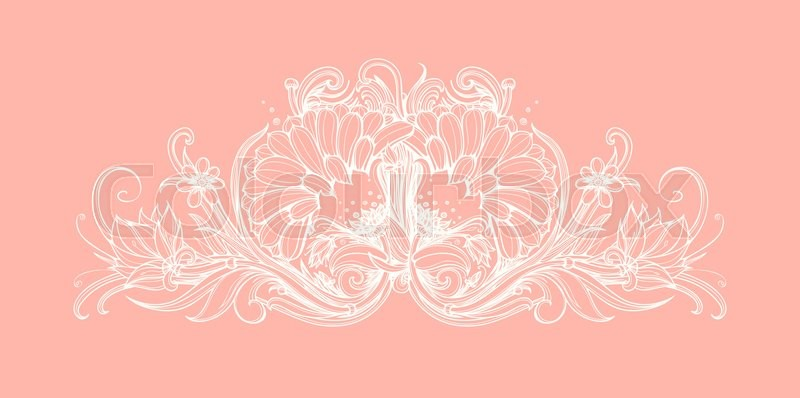 Vector Flowers On Pastel Pink Background Abstract Vintage