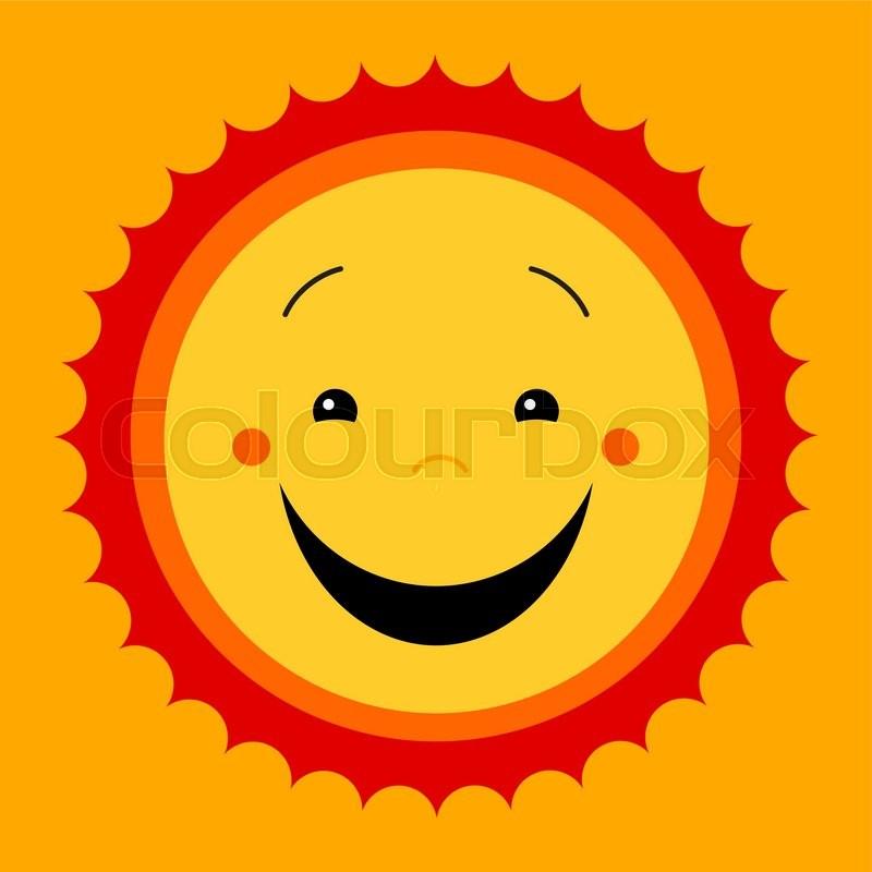 Smile Sweat Cute Sun Vector Cute Kids Sun Symbol Kiddish Sun Sign