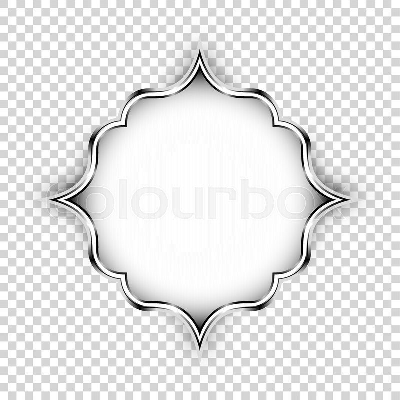 Vector Silver Shape Decorative Art Design Element Islamic Ornamental Floral Label With Lights And Shadow Isolated On Transparent Background