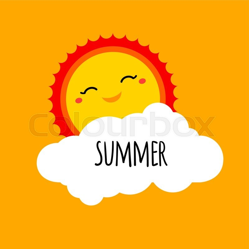 vector abstract cartoon summer background design concept with happy