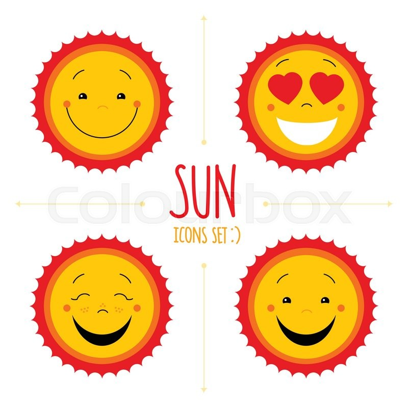 Baby Cute Vector Sun Icon Set Cute Baby Smile Sun Logos