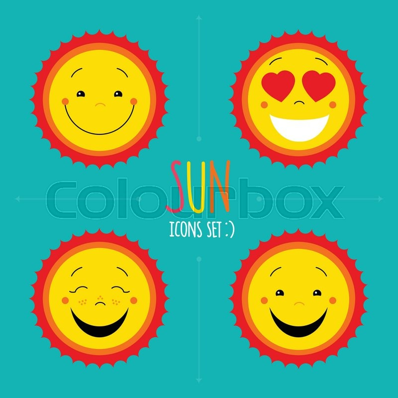 Sun Icons Set Vector Cute Kid Happy Sun Cartoon Sun Symbols