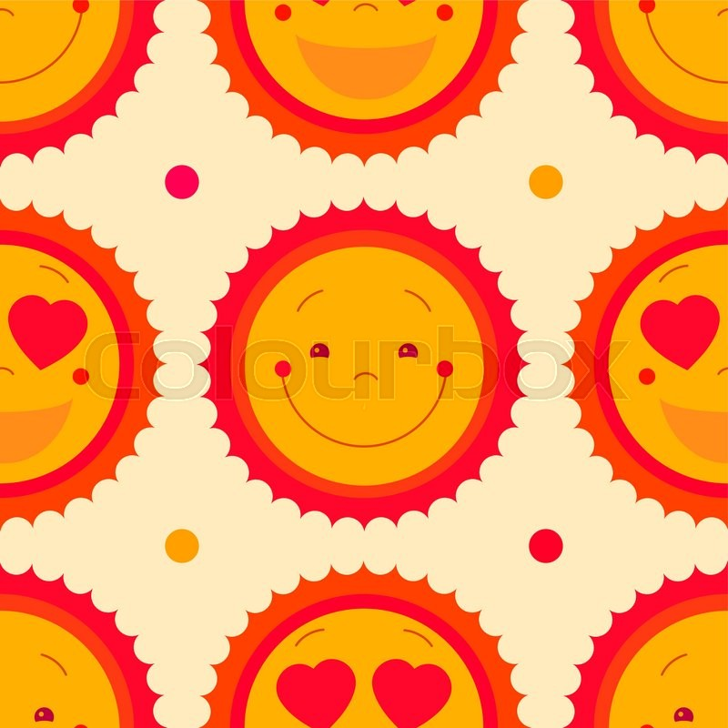 Vector Seamless Pattern Background With Happy Sun And Dots Isolated
