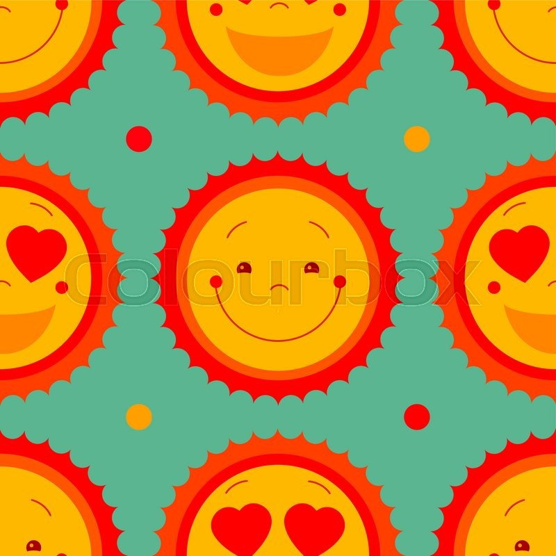 Vector Abstract Seamless Pattern Background With Smile