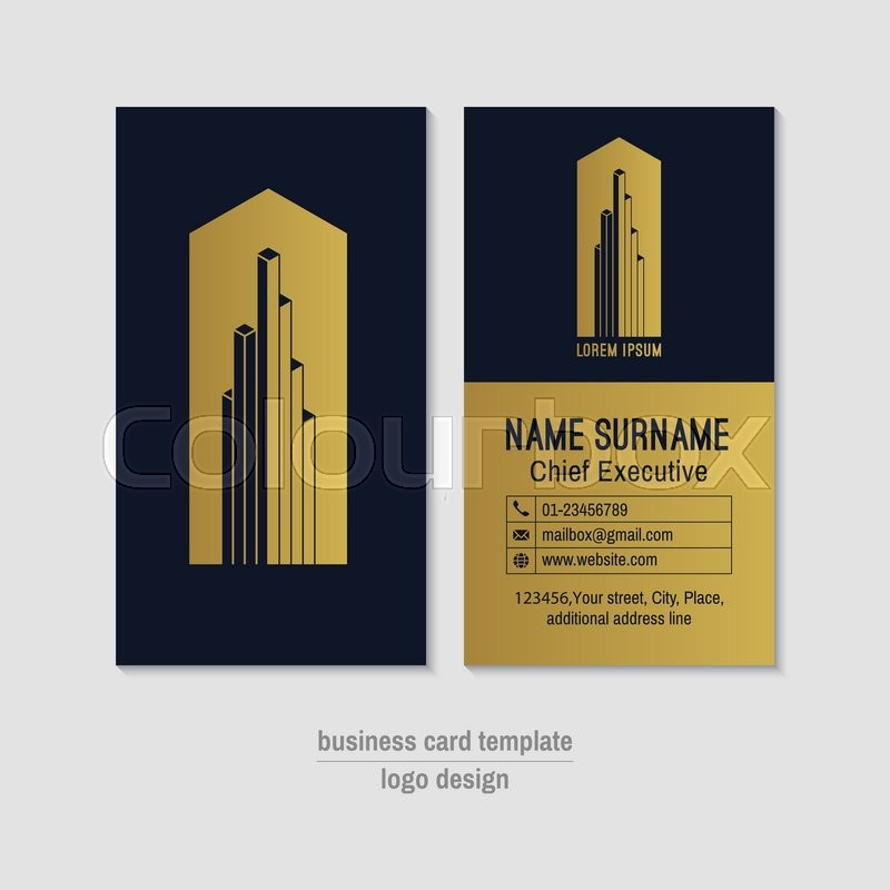 Abstract Vertical Gold And Blue Vector Business Card Template Visit - Mailbox label template