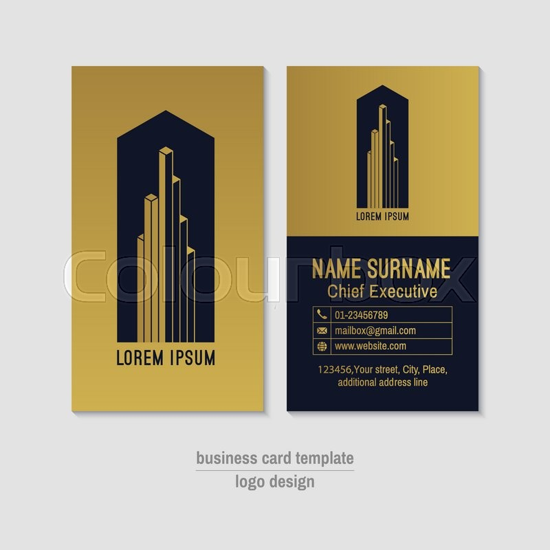 Abstract vertical vector business card template gold and blue abstract vertical vector business card template gold and blue business card layout corporate business card modern visit card with abstract logo and reheart Images