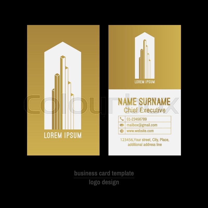 Abstract vector business card template. Gold and white business card ...