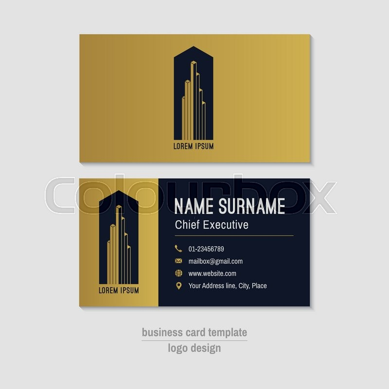 Abstract horizontal vector business card template gold blue gold blue business card layout corporate business card background modern visit card with abstract logo and icons vector visiting card vector reheart Image collections