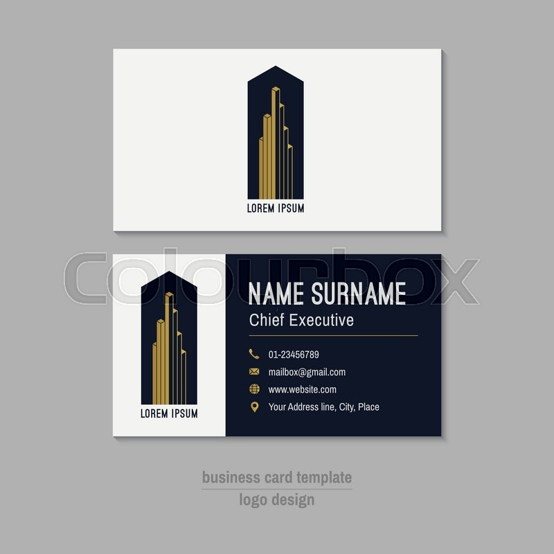 Abstract vector business card template. Gold, white and blue ...