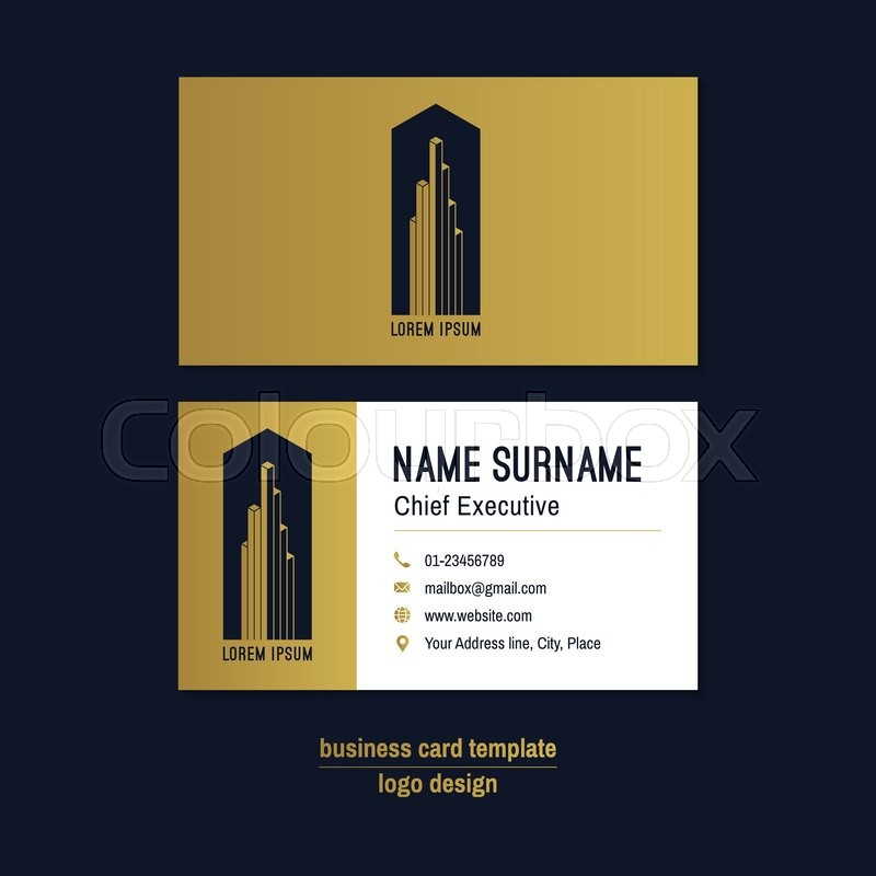 Abstract horizontal vector business card template. Gold, blue ...