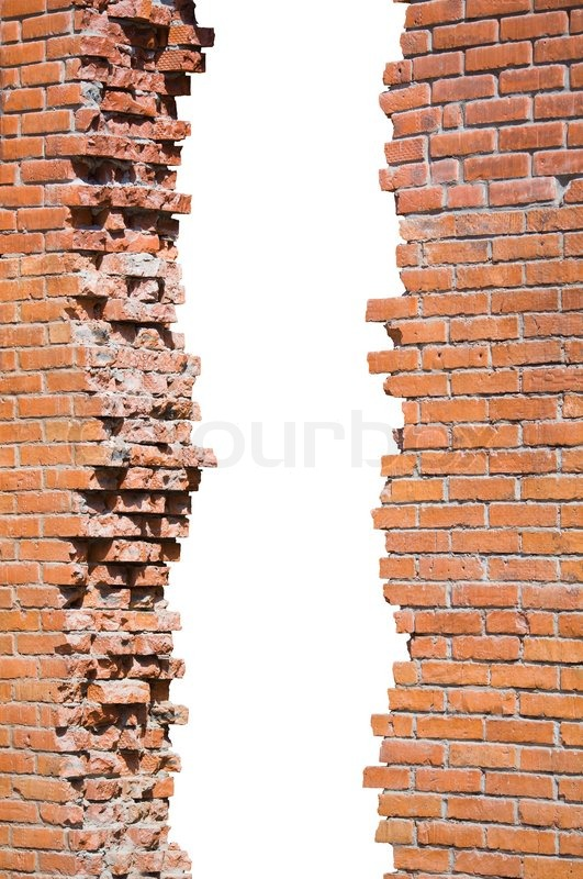 Broken Brick Wall Isolated Stock Photo Colourbox