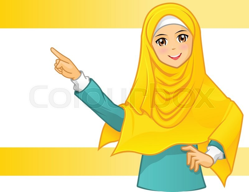 Muslim Woman Wearing Yellow Veil With Pointing Arms