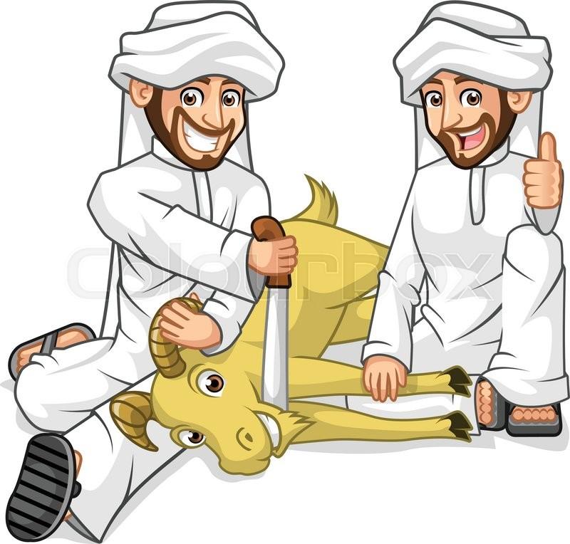high quality muslim men cartoon character sacrifice goat in