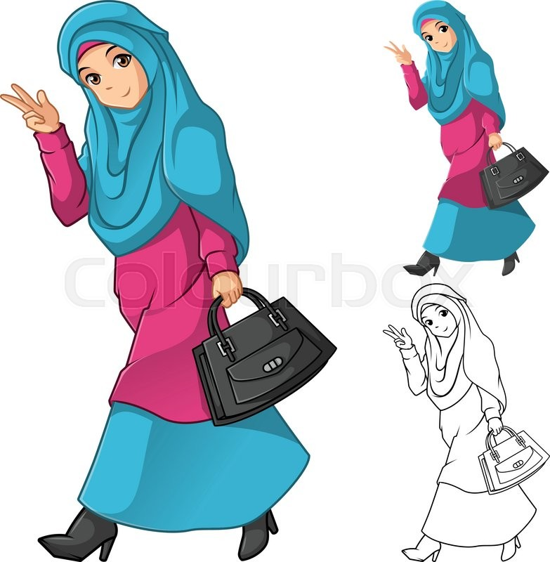 Dress outfit include flat design and outlined version cartoon