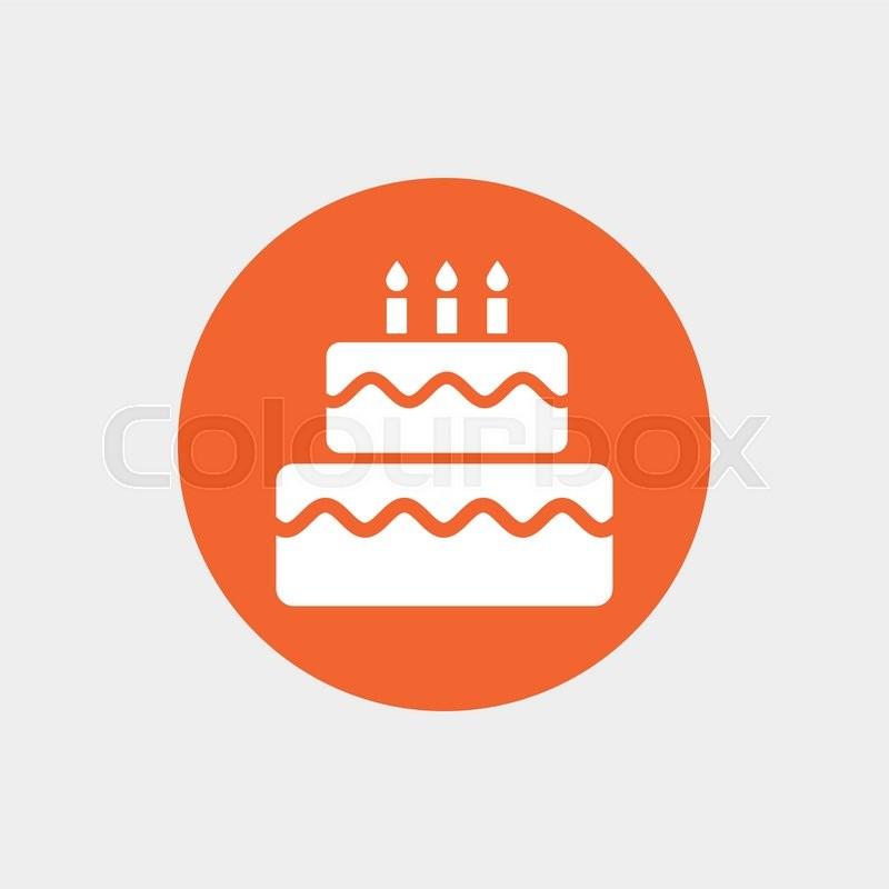Birthday Cake Sign Icon Cake With Burning Candles Symbol Orange
