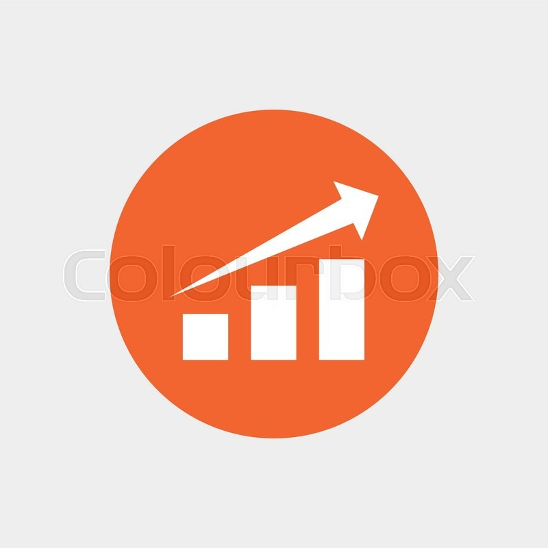 Chart With Arrow Sign Icon Success Diagram Symbol Statistics