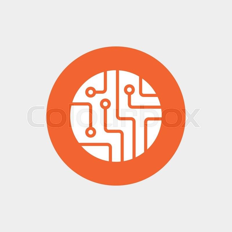 Circuit board sign icon. Technology scheme circle symbol. Orange ...