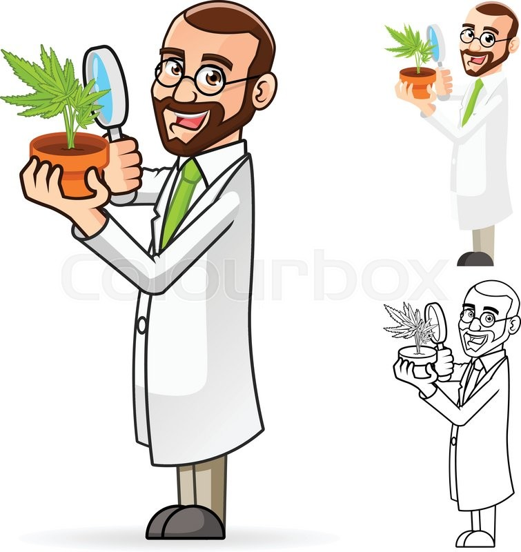 High Quality Plant Scientist Cartoon Character Looking At