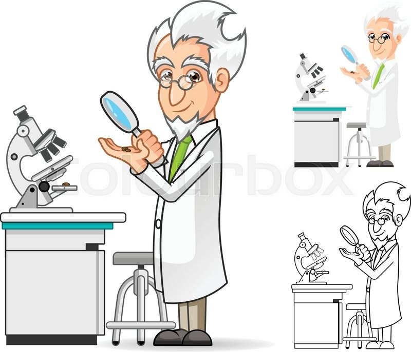 High quality scientist cartoon character holding a