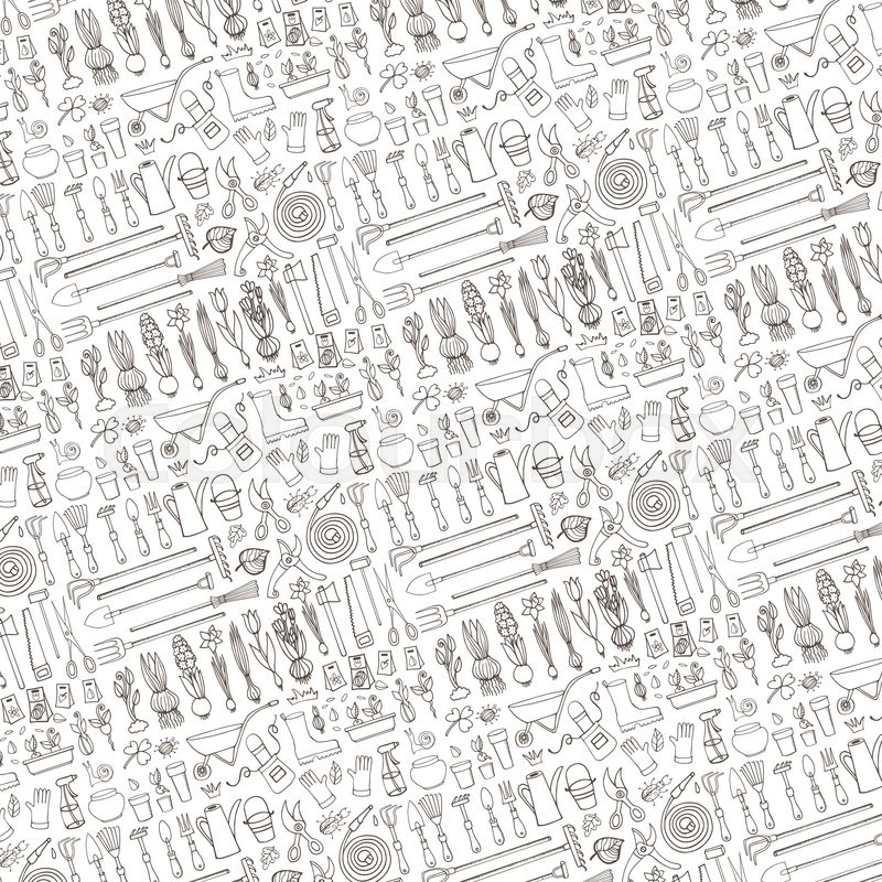 Spring Garden Pattern Backdroplinear Background.Hand Drawn Vector Sketch Elements Flowers ...