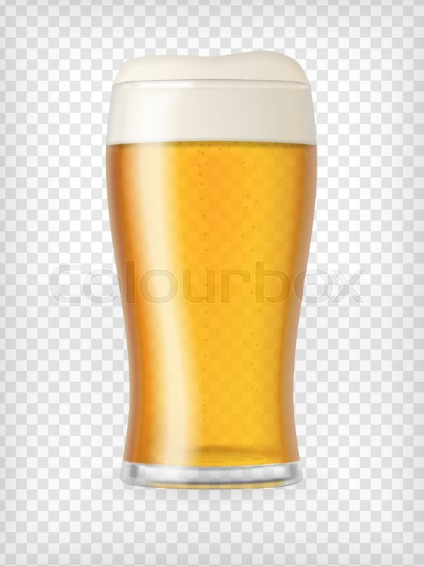 realistic beer glass mug with light beer and bubbles