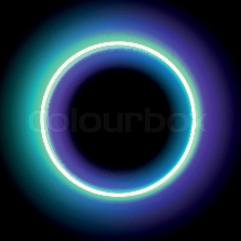 Neon circle. Neon blue light. Vector electric frame. Vintage frame ...