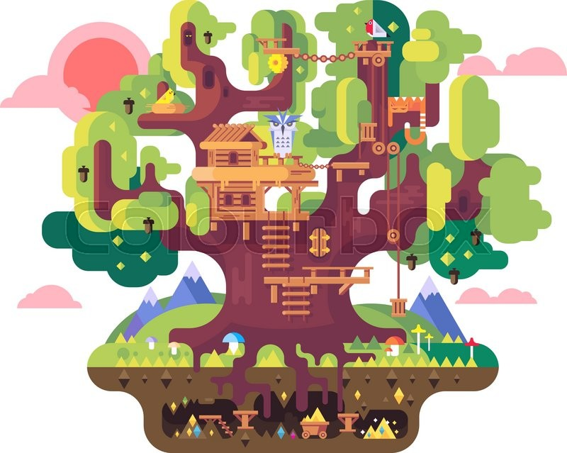 Stock Vector Of U0027fairy Tree House. Childhood Building, Nature Home Design,  Fantasy