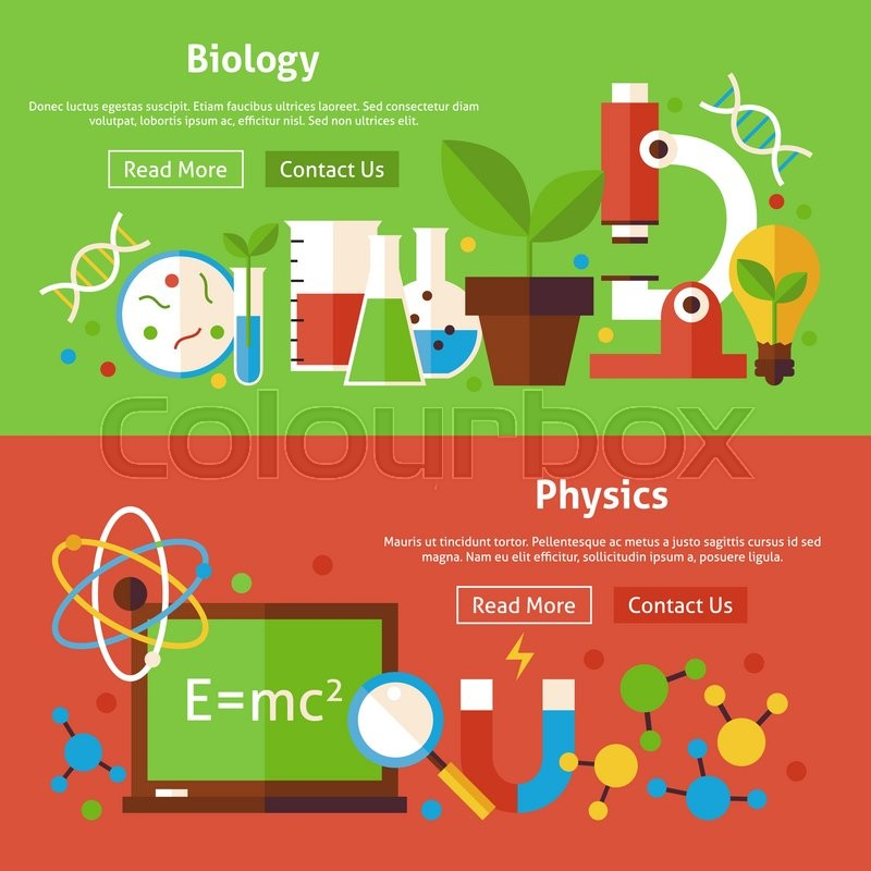 Biology And Physics Flat Website Banners Set. Vector