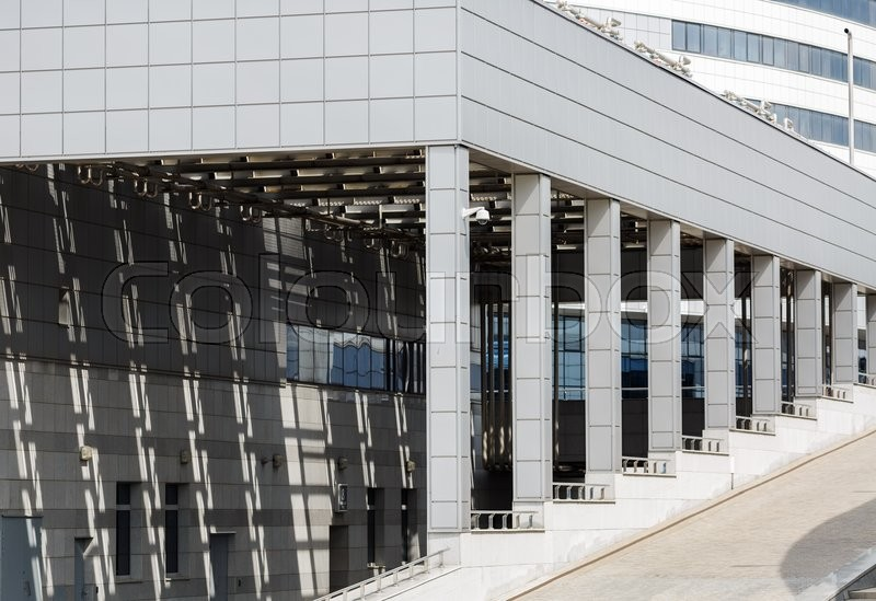 Modern business industrial architecture. Modern industrial building with a colonnade, stock photo