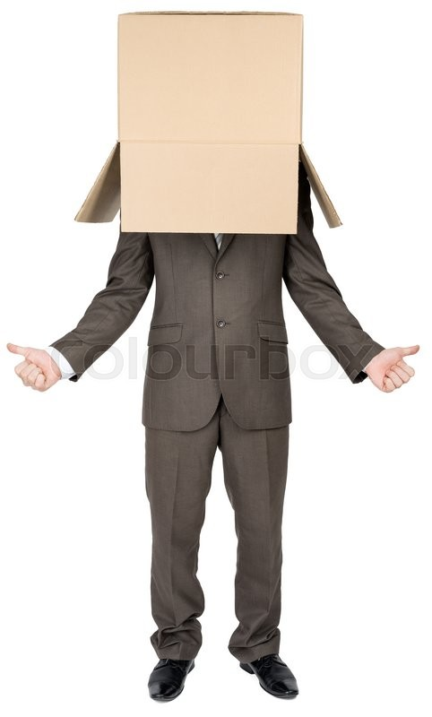 Stock image of 'Businessman standing and gesturing with cardboard box on his head '