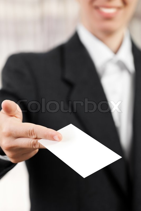 Smiling women hand hold blank white business card stock photo smiling women hand hold blank white business card stock photo reheart Choice Image