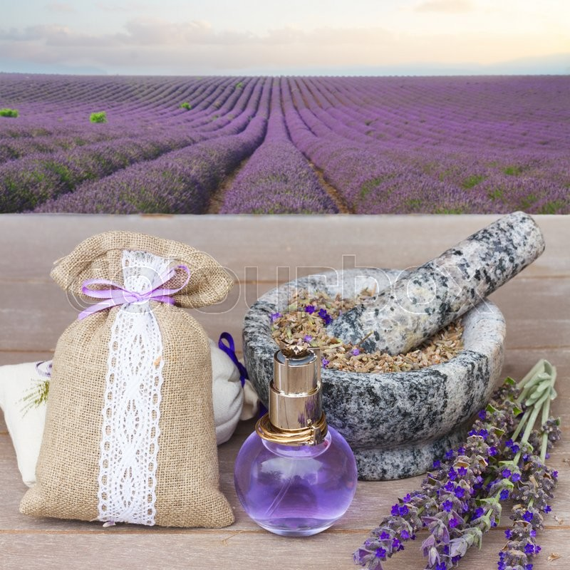 Stock image of 'Lavender herbal water in a glass bottle with fresh and dry flowers on  wooden table in lavander garden '