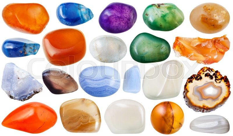 Stock image of 'set of various transparent agate natural mineral stones and gemstones isolated on white background'