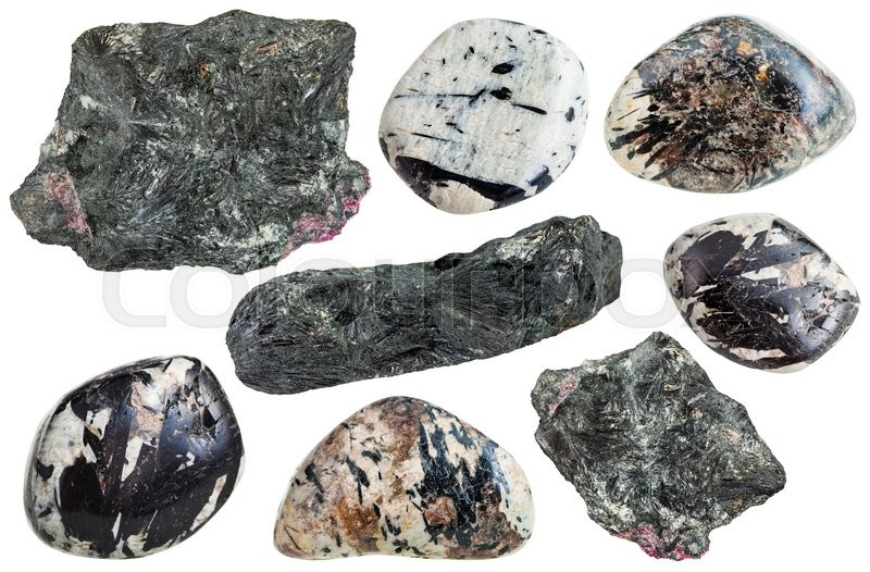 Stock image of 'set of various aegirine (acmite, augite) crystals in natural mineral stones and gemstones isolated on white background'