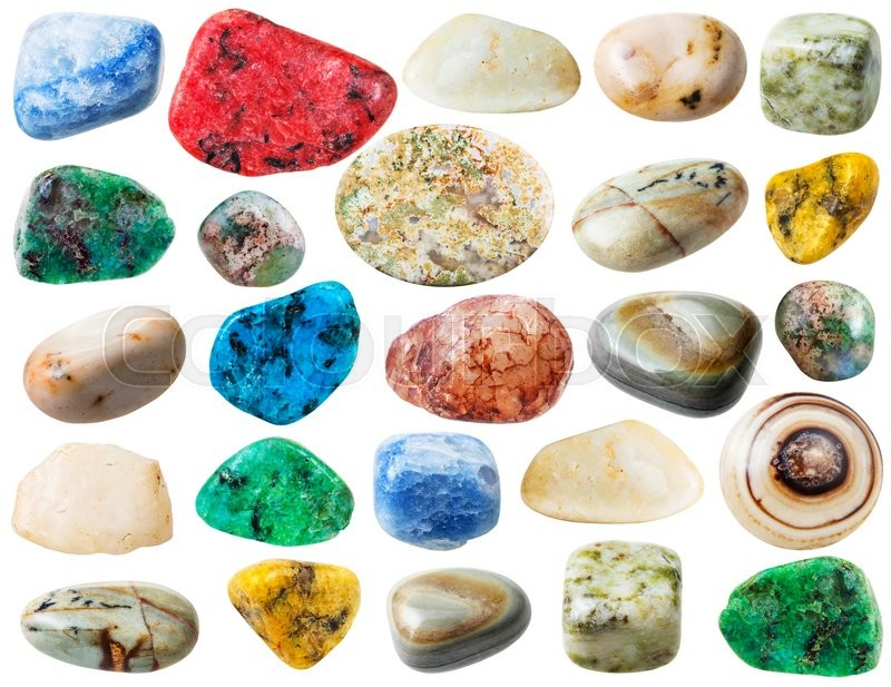 Stock image of 'set of various agate natural mineral stones and gemstones isolated on white background'