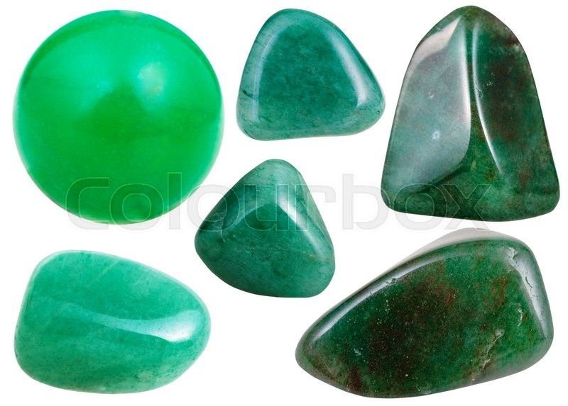 Stock image of 'set of various green Aventurine natural mineral stones and gemstones isolated on white background'