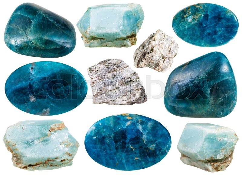 Stock image of 'set of various apatite natural mineral stones and gemstones isolated on white background'