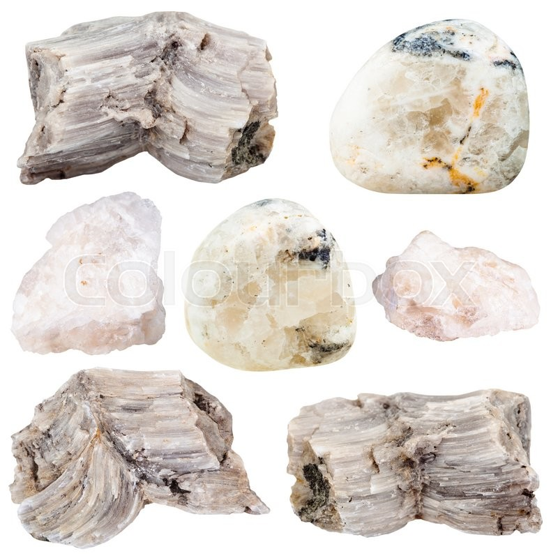 Stock image of 'set of various baryte (barite) natural mineral stones and gemstones isolated on white background'