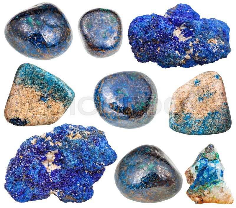 Stock image of 'set of various azurite natural mineral stones and gemstones isolated on white background'
