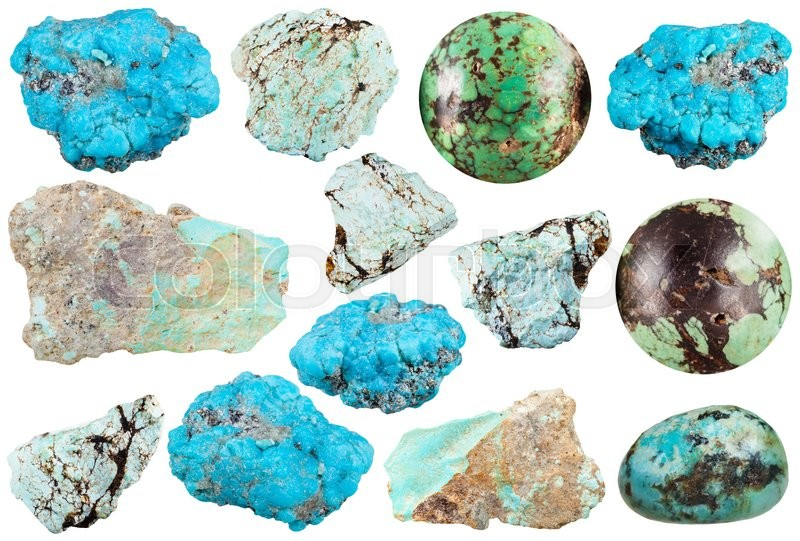 Stock image of 'set of various turquoise natural mineral stones and gemstones isolated on white background'