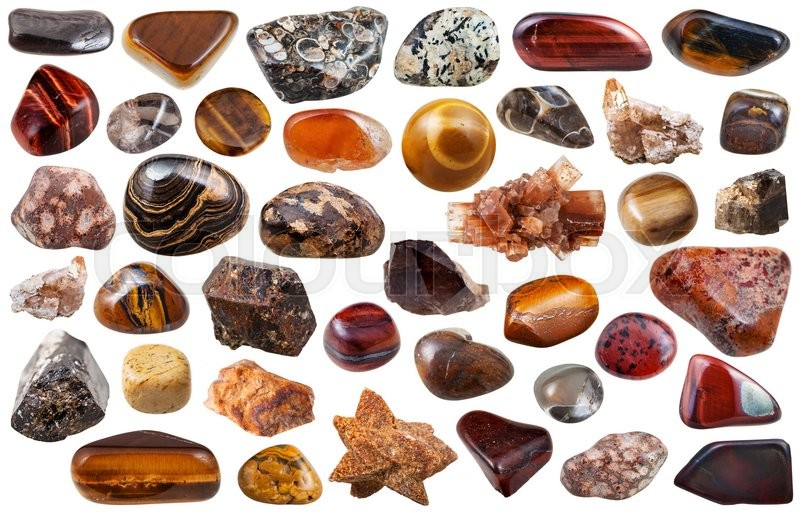 Stock image of 'set of brown natural mineral stones and gems isolated on white background'
