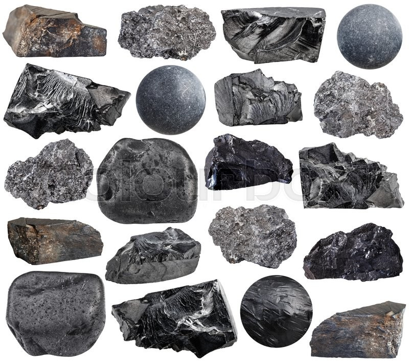 Stock image of 'set of various carbon (anthracite, shungite, graphite, coal, jet lignite) natural mineral stones, rocks and gemstones isolated on white background'