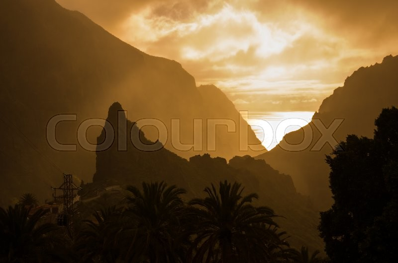 Stock image of 'Mountain landscape at sunset on Tenerife, Canary Islands, Spain'
