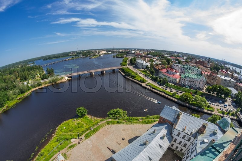 Stock image of 'Fish-eye view on buildings of Vyborg, Russia'