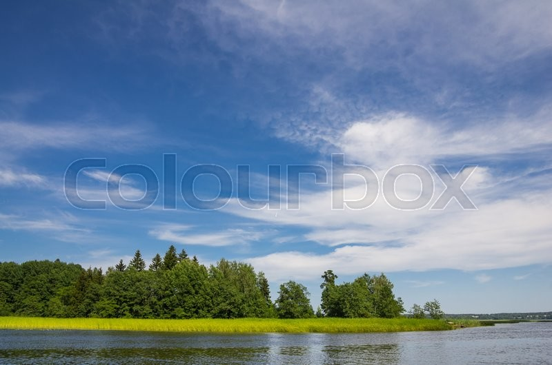 Stock image of 'Summer landscape in park Monrepo near town Vyborg in Russia on bank of Gulf of Finland'