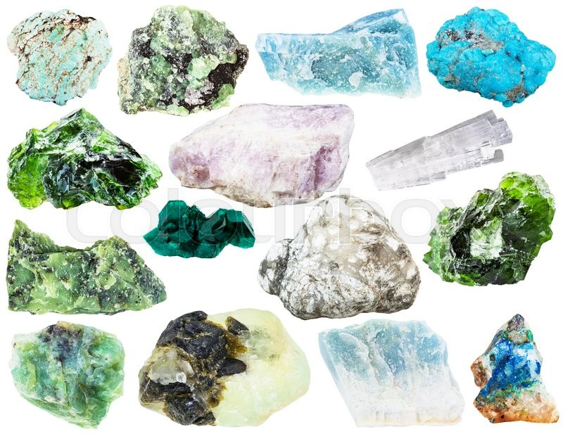 Stock image of 'set of various natural mineral gemstones and crystals - ussingite, tennantite, tirolite, azurite, scolecite, turquoise, prehnite, demantoid, violane, blue, dioptase, etc isolated on white background'