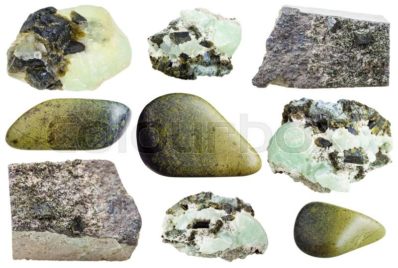Stock image of 'set of various epidote natural mineral stones and gemstones isolated on white background'