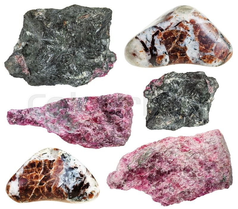 Stock image of 'set of various eudialyte natural mineral stones, rocks and gemstones isolated on white background'